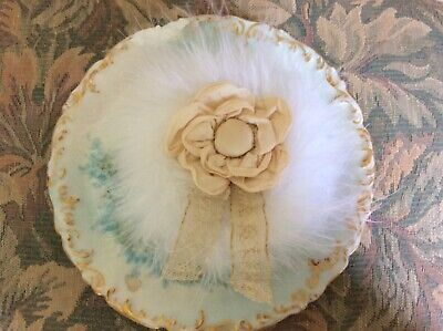 Lovely Soft Feather Body Powder Puff, Ribbon Work, Lace