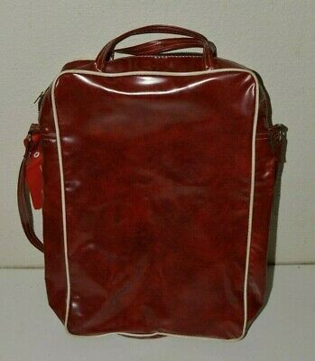 NICE Vintage 1960s Red Travel Bag Carry On Western Airlines Tag Vinyl Luggage