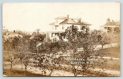 Sisseton SS~Magnificent Hillside Mansion~House w/Turret Above~Parking~RPPC c1910