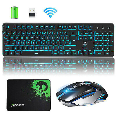 AU Wireless Rechargeable LED Backlit Gaming Keyboard Mouse + Mouse Pad Set 620