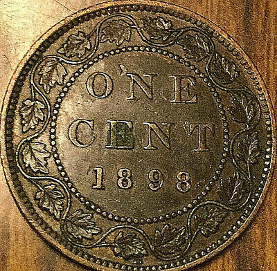 1898H CANADA LARGE CENT PENNY LARGE 1 CENT COIN - Excellent example!