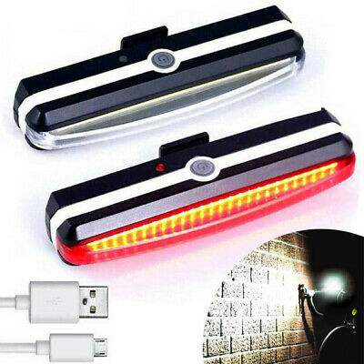 USB Rechargeable LED Mountain Bike Cycle Front Rear Tail Light Set Waterproof Au