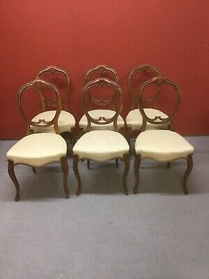 Antique Set Of 6 Balloon Back Chairs For Restoration Sn-910a