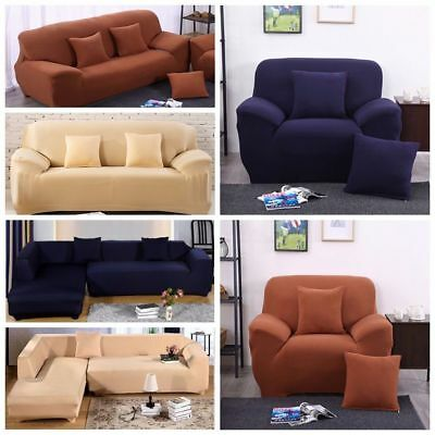1//2//3//4 Seater Thick Solid Plush Couch Stretch Fit Sofa Cover Couch Protector US