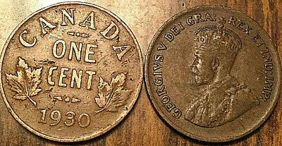 1930 Canada Small 1 Cent Coin Penny Vg-F Buy 1 Or More Its Free Shipping!