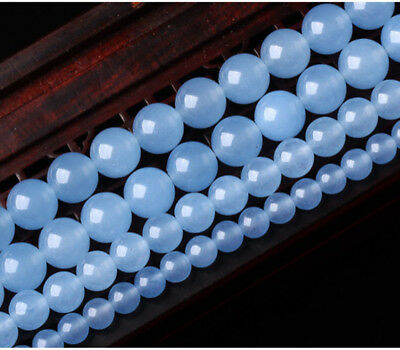 """4/6/8/10/12mm Natural Blue Jade Chalcedony Round Gemstone Loose Beads 15"""" AAA"""