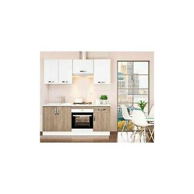 Cocina completa 180 cm color roble-blanco KIT-KIT