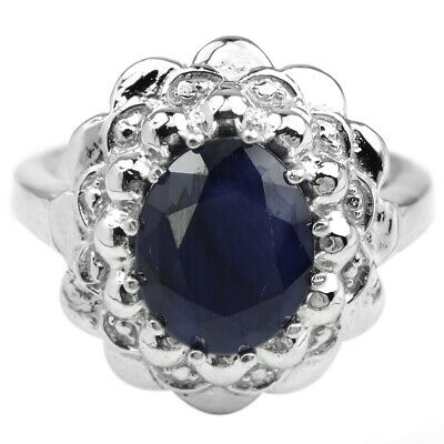 Genuine 10X8 Mm. Oval Aaa Blue Sapphire & White Cz Sterling 925 Silver Ring 7.25