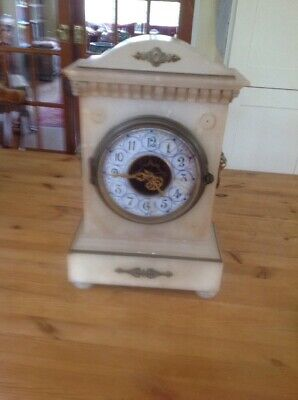 Antique French Alabaster Mantle Clock