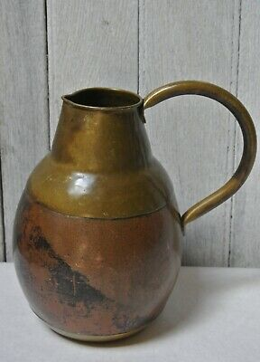 Vintage Brass & Copper Water Cider Pitcher Jug French Country Antique