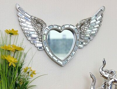 Antique Silver Mosaic Heart Angel Wings Shabby Chic Ornament Mirror Wall Art