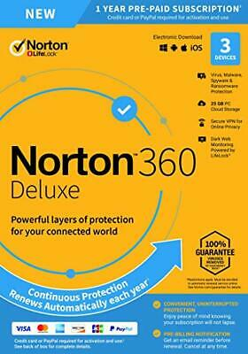 Norton 360 Deluxe 2020 3 dispositivi 3 PC 1 anno PC MAC Internet Security 2019