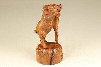 chinese old boxwood hand carved lovely pig statue figure collectable