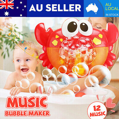 AU Kid Baby Bubble Crab Maker Machine Bath Music Toy Shower Fun w/3 Suction Cups