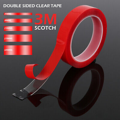Double Sided Super Sticky Clear Tape Red Strong  Craft DIY Tape Roll 3m x 5mm