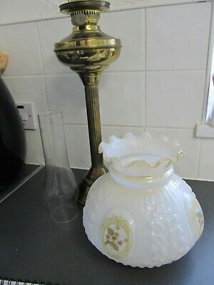 Antique Victorian Heavy Oil Lamp Original Shade Lovely Condition 69cms tall