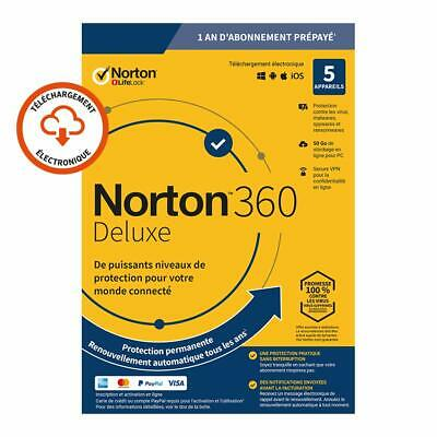 Norton 360 Deluxe 2020 5 App 5 PC 1 an PC 2019 PC MAC Internet Security FR EU