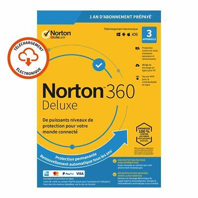Norton 360 Deluxe 2020 3 App 3 PC 1 an PC 2019 PC MAC Internet Security FR EU