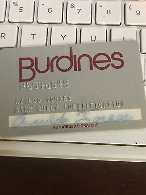 VINTAGE BURDINES BANK CHECK IDENTIFICATION CARD, HARD PLASTIC (a1)