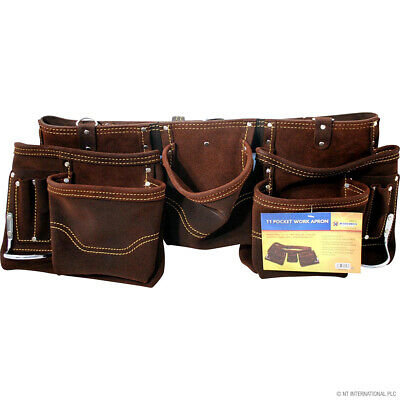 11 Pocket Double Thick Leather Tool Pouch Builders Bag Belt Storage Heavy Duty
