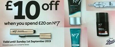 Boots Chemist £10 Off £20 No 7 Skincare Cosmetics Voucher Valid 1st Sept 19