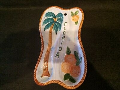 Vintage - Florida Souvenir - Double Spoon Rest - Palm Tree / Oranges - Japan
