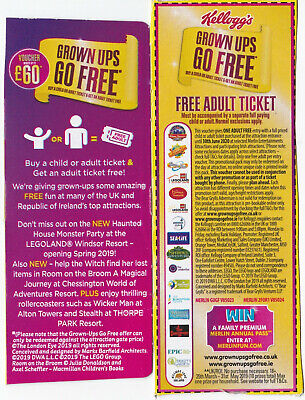 1 x KELLOGGS / MERLIN PASS VALID TILL 30/June 2020 *Free Adult with one payee*