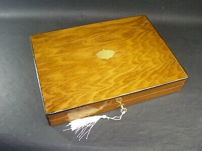 Antique A4  Document Box Working Lock & Key c1890 English Oak Brass Center