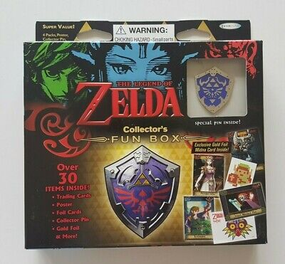 The Legend Of Zelda Collectors Fun Box 4 Packs of Trading Cards Collector Pin