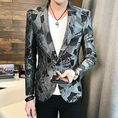 Men/'s Blazer Lapel Formal Coat Collar Floral Club Slim Fit Dress Jacket Leisure