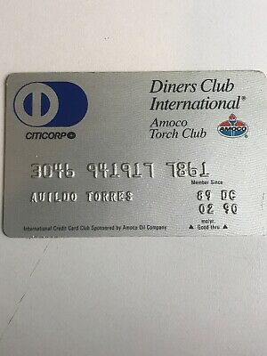 Diners Club - Amoco credit card 1990 raised numbers hard plastic card (a5)