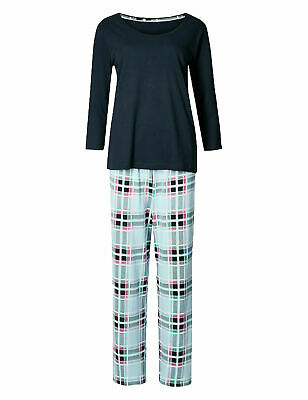 Ex Marks and Spencer Pure Cotton Textured Pyjama Set Size 12 P81.6