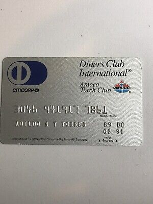Diners Club - Amoco credit card 1996 raised numbers hard plastic card (a5)