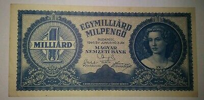 1946 10 TRILLION Pengo Hungary Currency Large Banknote Note