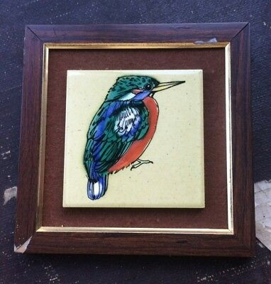 Withersdale Ceramic Framed Tile of a Kingfisher - Hand Painted - 1980s