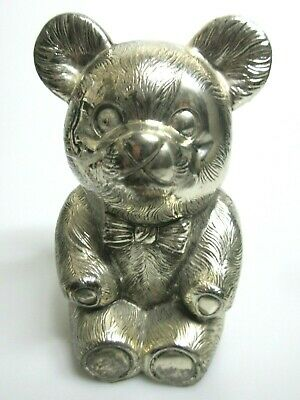 Vintage Leonard Teddy Bear Coin Bank Silver- Plated Metal Turn To Lock Stopper