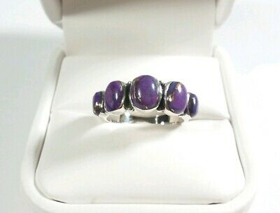 925 Sterling Silver Southwest Style Multistone Purple Turquoise Size 7 Ring