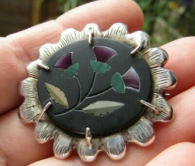 Antique Scottish Inlay Amethyst Malachite Agate Sterling Silver Brooch