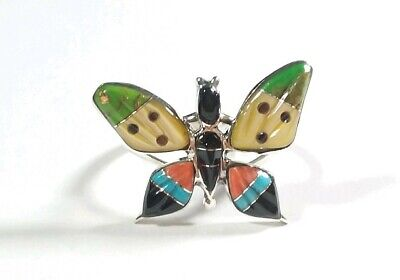925 Sterling Silver Butterfly Turquoise Spiny Oyster Mop Onyx Size 9 Ring