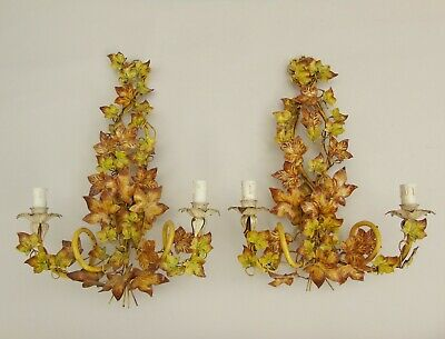 Pair Antique Painted Toleware Wall Lights French