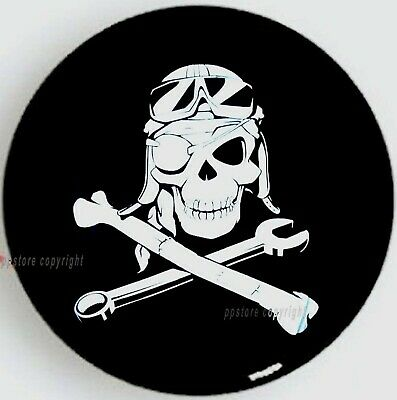 "13"" DIY trailer Spare tire tyre Wheel Protect Cover Mechanical Pirate Skull S"