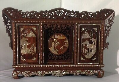 RARE antique Chinese Korean MOP inlaid rosewood wood Buddha shrine cabinet stand