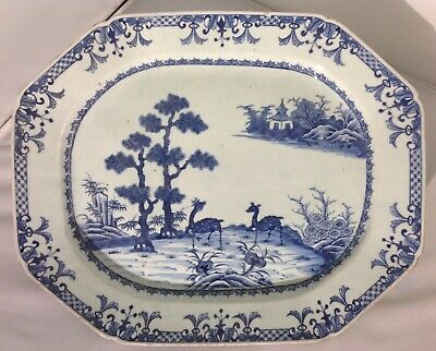 RARE Antique Chinese Blue White Porcelain platter / tureen stand QIANLONG period
