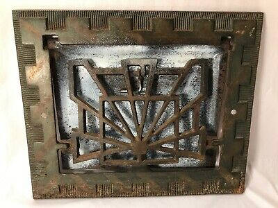 "Antique Art Deco Early 1900's Heat Air Grate Wall Register 11 5/8""L x 9 5/8""H"