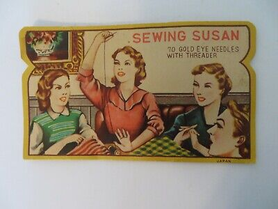 Vintage Sewing Susan Needles Card with Some Needles AS IS   #1256
