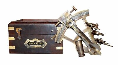"""Antique halloween gift nautical brass astrolabe maritime 4"""" sextant with wooden"""