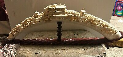 "Asian Chinese Antique 16"" Hand Carved Village Bovine Bone Carving Scenery Horn"