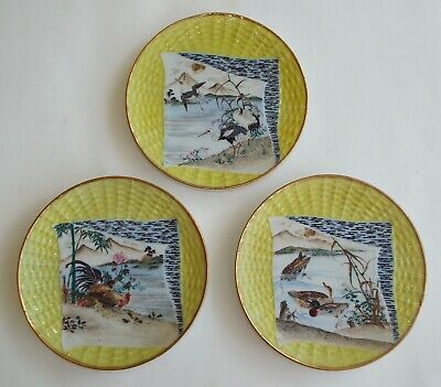 3 Antique Hand-Painted Porcelain Japanese Cabinet Plates, Ducks, Cranes, Rooster