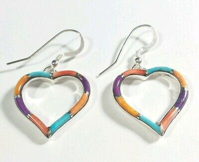 """925 Sterling Silver Hearts Turquoise & Spiny Oyster 1 1/2"""" Hook Earrings"""