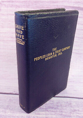 Bankers Utilities Co Leather Bound Metal Book Bank Peoples Loan & Trust Ind VTG